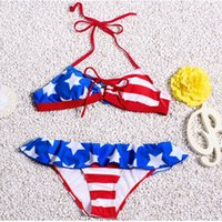 american flag apparel - 2016 Europe Explosion Bikini Swimsuit American Flag Style Steel Support Gather Spa Swimsuit Athletic Outdoor Apparel