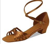 beautiful latin - Girls Latin ballroom low heel dance shoes with special desigh long strap beautiful satin material shoes ED061