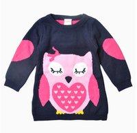 Wholesale 2016 Autumn Baby Girls Knit Owl Crochet Pattern Sweaters Kids Fall Cartoon Pullover Babies Jumper Tops Brand Sweater