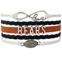 bears love - Custom Infinity Love Chicago State Bears Football Bracelet Team Wax Cords Wrap Braided Leather Bracelet For Football Fans Drop Shipping