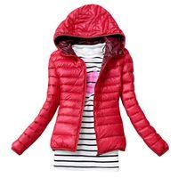 Wholesale New fashion Womens Winter Casual Warm Thin Slim Down Jacket Female Cotton Hooded Coat Women s Parka Windbreaker Outerwear
