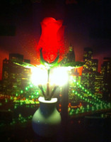 Wholesale Romantic Colorful Mini Lovely LED Light Control Cute Color RED rose Bedside Night Light Energy Saving Lamp Sensor