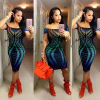 apparel design womens - 2016 womens off shoulder print dresses bodycon sexy tight fit dress Fluorescence color fashion design american apparel summer hot clothing