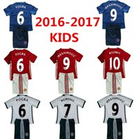Wholesale 2016 A quality MancHESTER children Kids Kit Jerseys Third unITED White IBRAHIMOVIC POGBA Rooney Youth Soccer Jerseys football shir