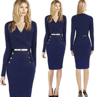 Wear to Work Bodycon Dresses Autumn 2017 New Design Cheap Dresses fashion hot new DH Europe women dress long-sleeved dress Ladies OL Dresses with Free sashes FS0895