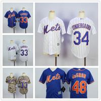 baseball pinstripe - Youth New York Mets Jersey Baseball MLB Kid Boys Matt Harvey Noah Syndergaard Jacob DeGrom Blue White Pinstripe Camo
