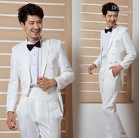 bespoke tailor - Custom Made To Measure Slim Fit Double Breasted Men Tuxedo Bespoke Tailored Long Tail Groom Wedding Tuxedos For Men Jacket Pants