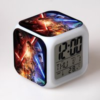 backlight movie - Star Wars Anime Figure Clock Cartoon Movie Action Figure Led Alarm Clocks Boy Girl Children Gift LCD Display Electronic Desk Clock