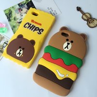 Silicone apples hamburg - Hot Sale Cute D Cartoon Hamburg Bear Chips Bear Cover Case for iphone plus High Quality Silicone Phone Case