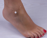ankle bracelets wholesale - Sexy Imitation Pearl Beads Gold Silver Alloy Ankle Chain Anklets Bracelet Foot Jewelry Barefoot Sandals Beach Accessories FE