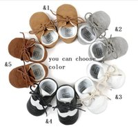 Wholesale PU lace soft bottom toddler boys girls casual shoes Spring newborn baby indoor sports stumble moccasins shoes