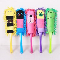 Wholesale Family car cartoon chenille dust cleaning brush to brush the desktop computer long handle with hang rope dust shan