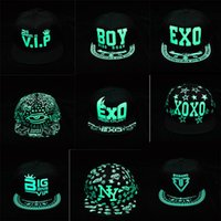 Wholesale Korea Glow hats Dark Snapback Caps Adjustable Hip Hop Fluorescent Baseball Cap Casual Luminous Caps Fitted Hats for Women Men BY DHL