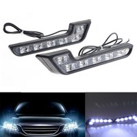 Cheap 1set White Bright 6 LED smd Car Driving Lamp Fog DRL Daytime Running lights 12v KK5