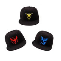 basball caps - Poke Go Hat Fashion pokémon Snapbacks Adjustable Pocket Monster Caps Valor Mystic Instinct Logo Basball Hat Caps Hip Hop Snapback