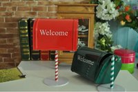 Wholesale lastest creative zakka crafts handmade crafts red green classic mailbox postbox model iron metal coffee bar home decor