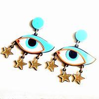 acrylic chandelier pendants - Punk Acrylic Start Pendant Blue Eyes Stud Earrings For Women Hip Hop Night Club Jewelry Accessories