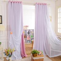 Wholesale Custom Curtain Princess Beauty New Korean models matt full blackout curtains for living room white tulle sheer curtains for girls room