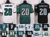 Wholesale 2016 Hot Mens Eagles Dawkins Blue White Black Elite Football Jerseys Mix Order