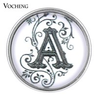 b c copper - VOCHENG NOOSA Glass Snap Charms English Letters A B C mm Copper Metal Interchangeable Jewelry Vn