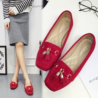 Wholesale Flat shoes suede fringed shoes new spring flat shoes size square single mother female shoe