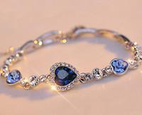 achat en gros de océan bracelet de charme-Bijoux Femme élégante New Fashion Blue Ocean Sliver plaqué cristal strass Coeur Charm Bracelet cadeau CC688