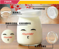 Wholesale High Quality Glass Pudding Bottle Smile Face design Jelly cup Pudding Mould with Cover Free lead Glass Heat resis