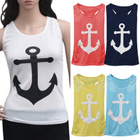 anchor blouse - Newest Women Loose Vest Casual Tank Tops Sleeveless Blouse Anchor Bowknot Cotton Blend