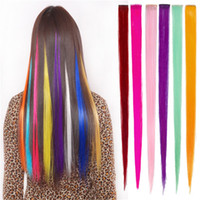 Wholesale Clips on Hair Extensions From Popular Stars Favorite Red Blue Orange Pink Green Girls Fashion Accessories Straight Synthetic Hair