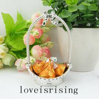 basket baby shower - 24pcs Silver Little Flower Basket Candy Boxes Baby Shower Favors For KIDS Birthday Party Wedding Supplies