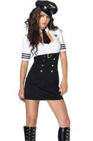 airline pilot hats - Sexy Adult Cosplay Party Costume with Hat Airline Pilot Captain Halloween Party Costume Fancy Dress Outfit For Womens