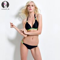 bathing suits free shipping - Newest Retro Style Beachwear Tankinis Women Sexy Halter Bikini Set Colors Choose Push Up Padded Swimsuit Bathing Suit