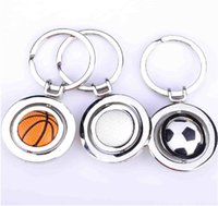 basketball ball games - Golf Basketball Football Soccer Key Chain Revolving Metal Key Ring Charms Olympic Games European Cup School Novelty Gifts Keychains