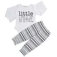 Wholesale Hotsale Baby boy Outfits Little brother clothing set White Baby rompers pant baby boy clothing cotton autumn Boutique