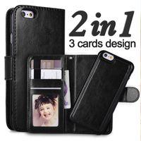 al por mayor wallet case-Para iphone7 6 más 2 en 1 iPhone magnífico desmontable de la cubierta del caso del cuero desprendible desmontable de la cubierta del iphone 7 5 SE Galaxy S8 más