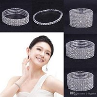 Wholesale 10PCS Rows Rhinestone Austria CZ Bracelets Crystal Wedding Bride Stretchy Bangle Wristband Jewelry Elasticity Bracelet women gift