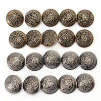 Wholesale 10pcs New Tone Metal Round Buttons Craft Sewing Scrapbooking Cardmaking Coat Jacket Clothing DIY Decor Silver Bronze MM