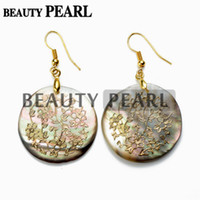 Cheap Gold Plated Floral Charm Round Black Shell Earrings for Ladies Unique Jewelry Handmade Woven Golden Wire