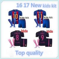 barcelona jersey kit - 2016 Top quality Barcelona kids jerseys kit sock home away kids SUAREZ MESSI NEYMAR JR jerseys kit