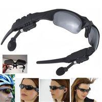 Wholesale 10pcs free dhl Smart Glasses Black Sunglass Sun Glass Sports Headset MP3 Player bluetooth phone bluetooth eyeglasses