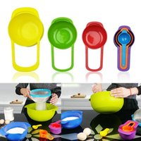 Wholesale 6Pcs Set New Design Rainbow Plastic Combination Measuring Spoons Cups Tools For Home Kitchen Baking Cooking