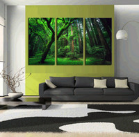 abstract canvas artwork - 3 Panels Green Forest HD Canvas Print Painting Artwork Modern Home Wall Decor Painting Canvas Art HD Picture On Canvas Prints
