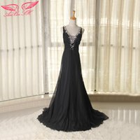 beading companies - AnXin SH black chiffon evening dress nnual meeting of the company presided temperament of the princess evening dress D081
