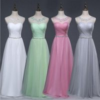 Wholesale New Scoop Neck Beaded Long Bridesmaid Dress Light Green Floor Length Party Dress Lace Up