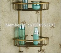 antique shelf brackets - US And Retail Dual Tier Corner Bracket Antique Brass Bathroom Shelf Shower Basket Holder Commodity Shelf