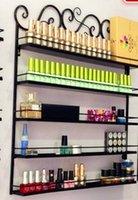 Wholesale Retro Iron nail polish display stand cosmetic nail shop exhibition shelf makeup organizer storage wall rack