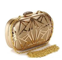 Wholesale Vintage Hollow Out Metal Evening Bags Diamonds Gold Black Ladies Evening Bag Small Purse Bag Pocket Money Bag For Wedding dating