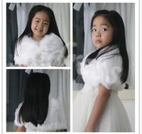 Wholesale Custom Made Child Faux Fur Wrap Pearl shrug White Flower girl Shawl years old Wraps Winter wedding shrugs Bolero Coat faux fur cover up