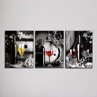 Wholesale Large Canvas Art Cheap Piece Wall Art Picture of Grape Glasses Modern Pattern on the Wall Paintings for Restaurant Decoration