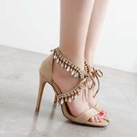Wholesale Real Photo Aquazzura Milla Jewel sandals Genuine leather High Heel Open Toe Sexy Wedding crystal Party Shoes size